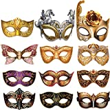 Blulu 12 Pieces Mardi Gras Masquerade Mask, Paper Masks Set for Carnival Prom Venetian Masks Half Retro Masquerade Mask Mardi Gras Costume Fancy Dress Party Supplies