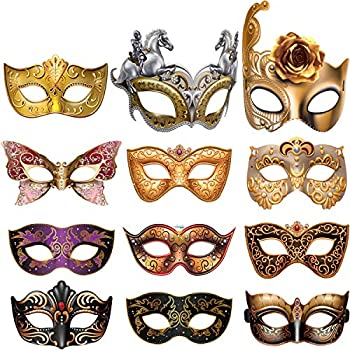 12 Pieces Mardi Gras Masquerade Mask Paper Masks Set for Carnival Prom Venetian Masks Half Retro Masquerade Mask Mardi Gras Costume Fancy Dress Party Supplies