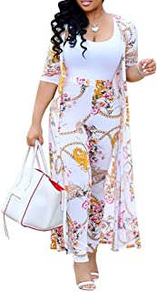 Women 2 Piece Outfits - Floral Print Long Sleeve Open Front Cardigan Cover Up Bodycon High Waisted Long Pants Set