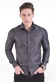 Camisa Social Masculina Slim Cinza Escuro 300203