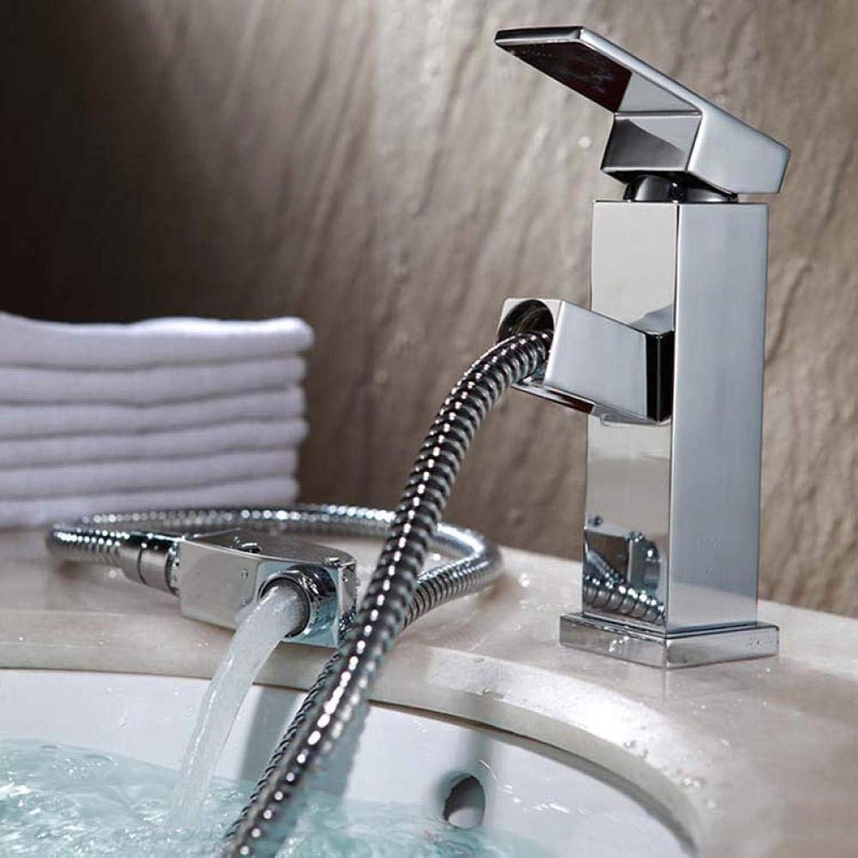 Wasserhahn ziehen_Badezimmerwaschbecken Waschbecken Kupferhahn ziehen, um Wasserleitung zu senden @ Kupferhahn + 2 Einlassrohre