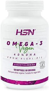 Omega 3 Vegetal de HSN | A partir de Aceite Puro de Algas | 800mg de DHA por Dosis Diaria | Sin Olor, Sin Reflujo | Vegano, Sin Gluten, Sin Lactosa, Sin Gelatina, 120 perlas