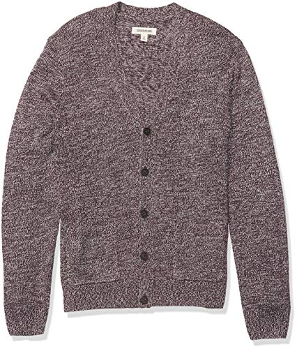 Amazon Brand - Goodthreads Men's Supersoft Marled Cardigan Sweater, Burgundy Small