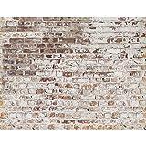 Runa Art Fototapete Steinwand Modern Vlies Wohnzimmer Schlafzimmer Flur - made in Germany - Weiss Braun 9083010c