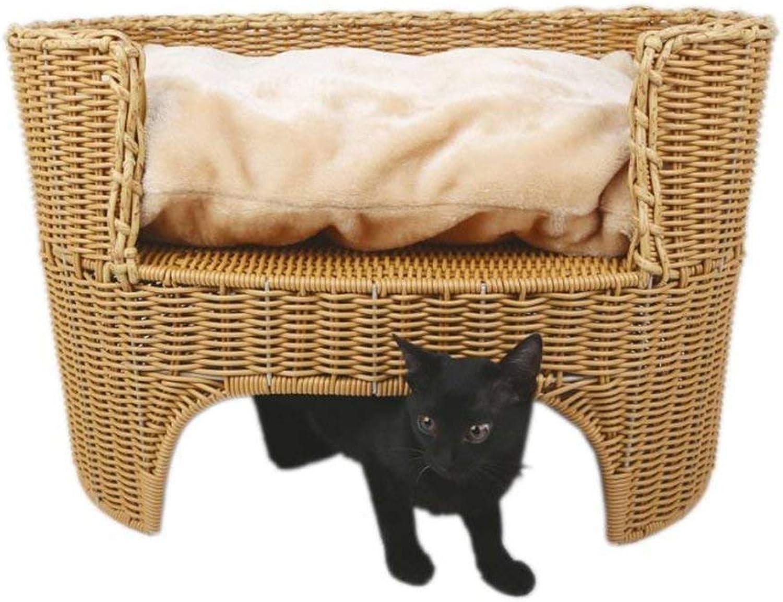 AYLS Rattan Cat Bed Cat House Pet Bed Pet Lounge Pet Furniture Four Seasons General Easy To Clean Cat Pet Supplies