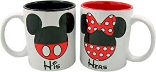 Needzo Disney His and Hers Mickey and Minnie Mouse Couples Coffee Mug Cup, Set of 2