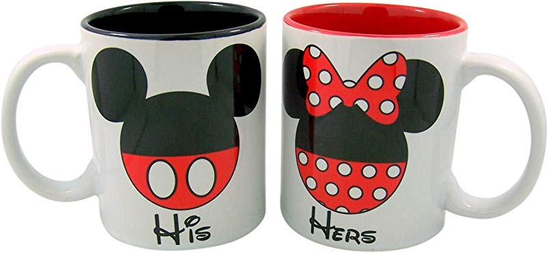 Needzo Disney His And Hers Mickey And Minnie Mouse Couples Coffee Mug Cup Set Of 2