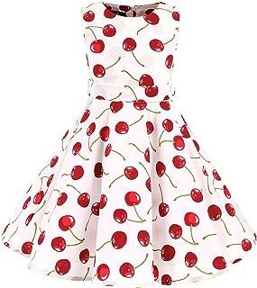 Little/Big Girls Cap Sleeves 50's Vintage Polka Dot Flowers Girl Brithday Party Swing Dress with Belt