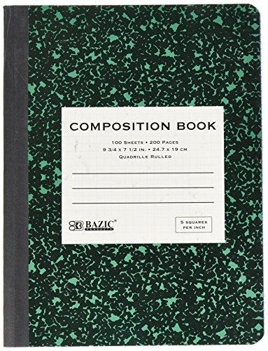Bazic 100Ct. 12,7–2,5cm quad-ruled Marmor Zusammensetzung Buch