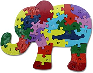 Jigsaw Puzzle Numbers and Letters (Elephant)