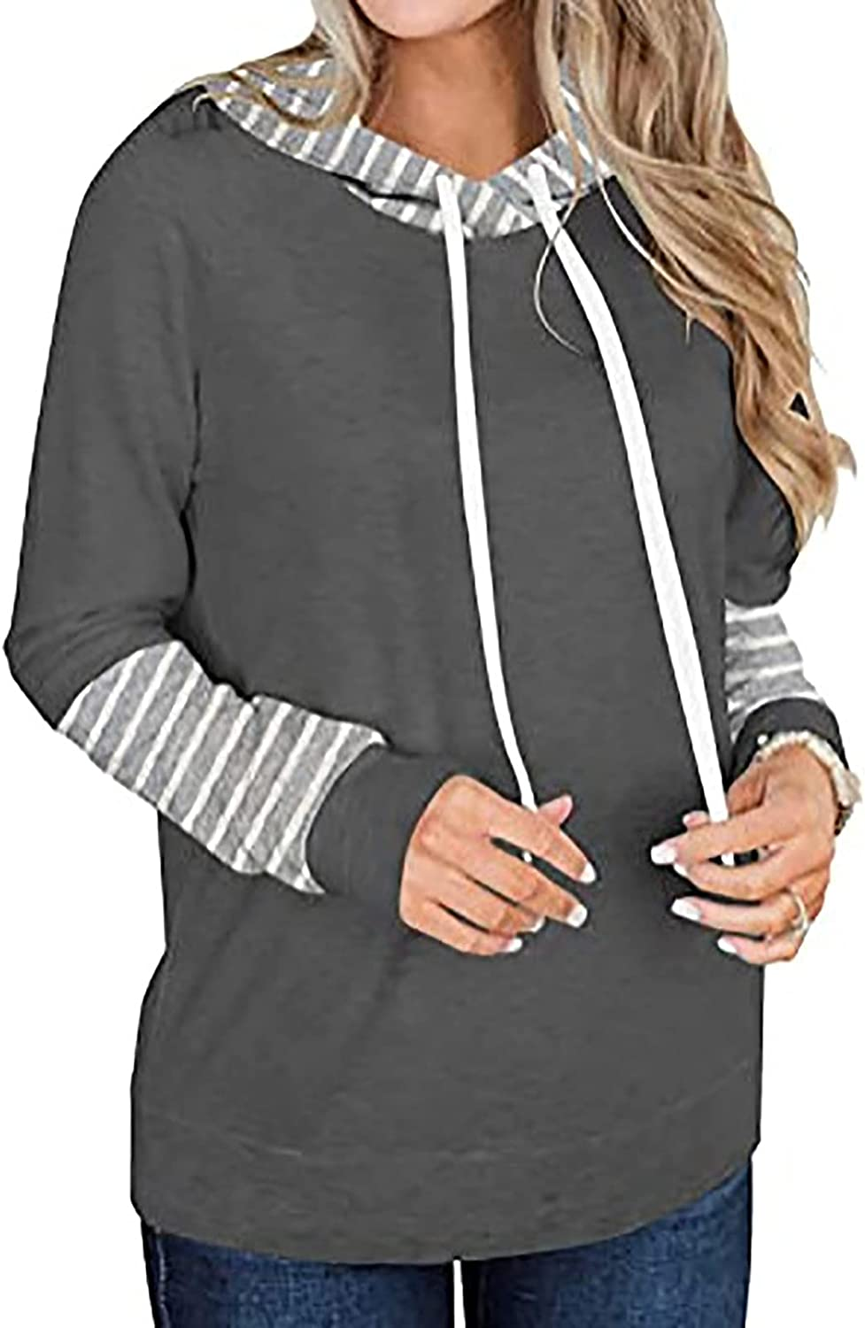 Stripe Splice Hooded Sweatshirts for Women Student Style with Drawstring Pullovers Loose Tops