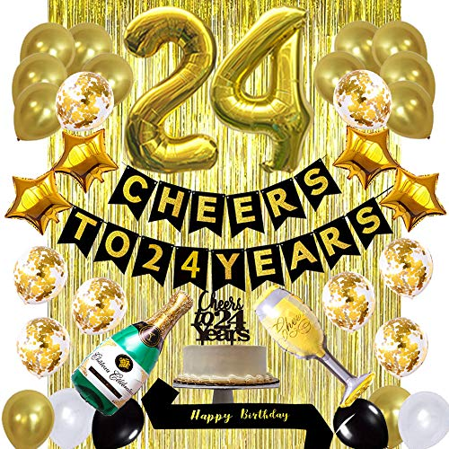 Gold 24th Birthday Decorations kit, Cheers to 24 Years Banner Balloons,24th Cake Topper Birthday Sash, Gold Tinsel Foil Fringe Curtains, for 24 Birthday&Anniversary Decorations