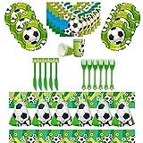 WENTS Fußball Party Set 41PCS Fußball Geburtstag Set Fußball Partyset Deko Partygeschirr Geburtstagsset für Kindergeburtstag Fußball-thematische Partydekor für 6 Gäste