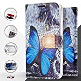 Luckiefind Compatible with ZTE Imperial Max Z963U / ZTE Kirk Z988 / ZTE Max Duo LTE Z936VL Z962BL / ZTE Grand X Max 2, Designer PU Leather Flip Wallet Credit Card Cover Case (Wallet Butterfly)