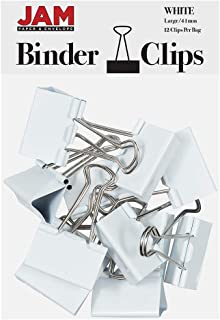 JAM PAPER Colorful Binder Clips - Large - 1 1/2 Inch (41 mm) - White Binderclips - 12/Pack
