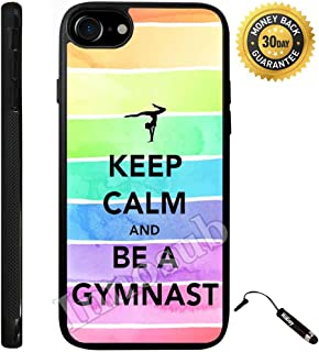 Custom iPhone 7 Case (Keep Calm Be A Gymnastics) Edge-to-Edge Rubber Black Cover with Shock and Scratch Protection | Lightweight, Ultra-Slim | Includes Stylus Pen by Innosub