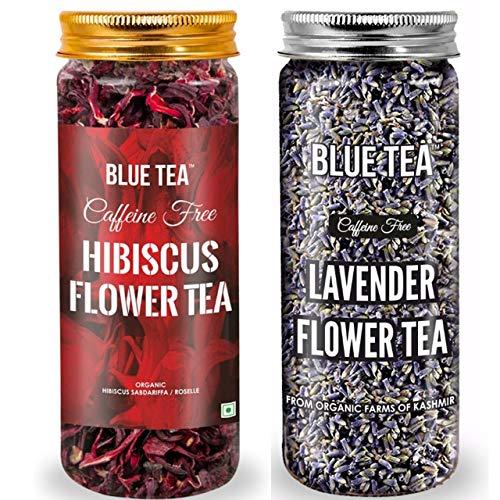 BLUE TEA – Immunity Tea Combo | Hibiscus Flower Tea – 50g & Pure Lavender Flower Tea- 30g – Combo Pack | Caffeine Free Herbal Tea | 80g – 100 Cups I