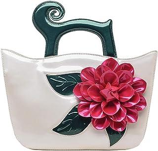 Trendy Lady Diagonal Bag Retro Large Flower Shoulder Bag Commuter Handbag Banquet Handbag Zgywmz (Color : White, Size : 30 * 13 * 24cm)