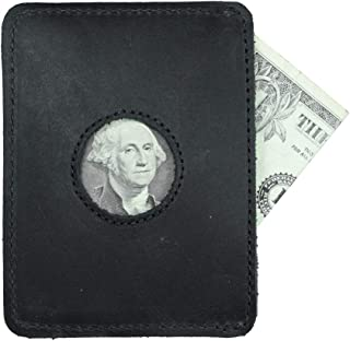 Leather Card Holder With Window, Holds Up to 2 Cards Plus Folded Bills/Wallet/Organizer, Handmade Includes 101 Year Warranty :: Charcoal Black