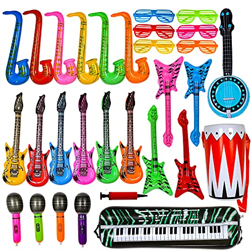 Max Fun Inflatable Rock Star Toy Set, 30 PCS 80s Party Decorations Inflatable Party Props Musical Instrument Inflate Rock Band Assortment for Concert Theme Party Favors Rock and Roll Party Supplies