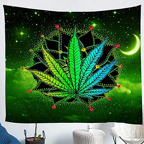 Tapiz de hoja de cannabis verde, marihuana para colgar en la pared, mandala bohemio, bohemio, exótico, tapiz de decoración de plantas, tapiz para colgar en la pared, extragrande 69 x 91