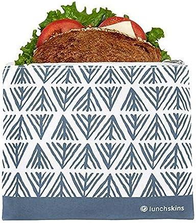 Lunchskins Z-MED-GEOMET-BLU Reusable Zippered Sandwich Bag Blue Geometric