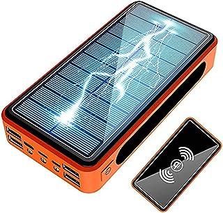 Zwpily Solar Power Bank 50 000 mAh, snabbladdning solladdare med typ C-ingångar, Qi trådlös laddning 10 W, LED-lampa vatte...