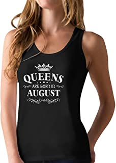 Birthday Gift for Women - Queens are Born in August Racerback Tank Top