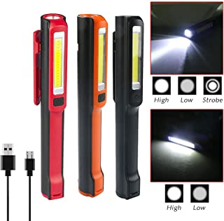 WREOW Rechargeable LED Work Light,Portable Pocket COB Floodlight/Inspection Lamp/LED Flashlight with USB Cable Magnetic Clip,3 Pack(Advanced)�