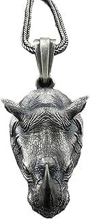 ZJL220 Collana con Ciondolo Rinoceronte norreno Vintage per Uomo Biker Punk Rock Animal Rhino Head Pendenti con Catena in ...