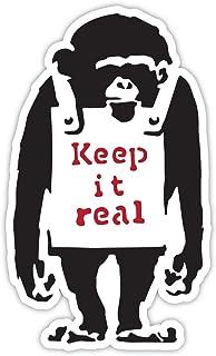 Banksy Monkey Keep it Real Design   Wall Art Graffiti Vinyl Sticker   Urban Art Venster, auto, laptop sticker (klein - 5x3cm)