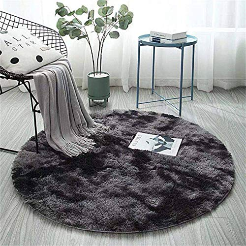 N-B Pink Round Carpet Nordic Ins Style Gradient Colorful Rug For Living Room Bedroom Rugs Fur Mats Large Size Hanging Basket Mat