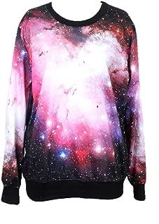 Pink Queen Galaxy Print Sweatshirt Sweaters Roll Neck Pullovers