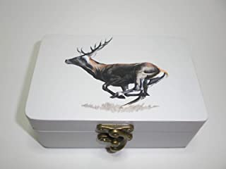 """Caja artesana decorada""""A la carrera"""", Ciervo ibérico (Cervus elaphus), Red deer"""
