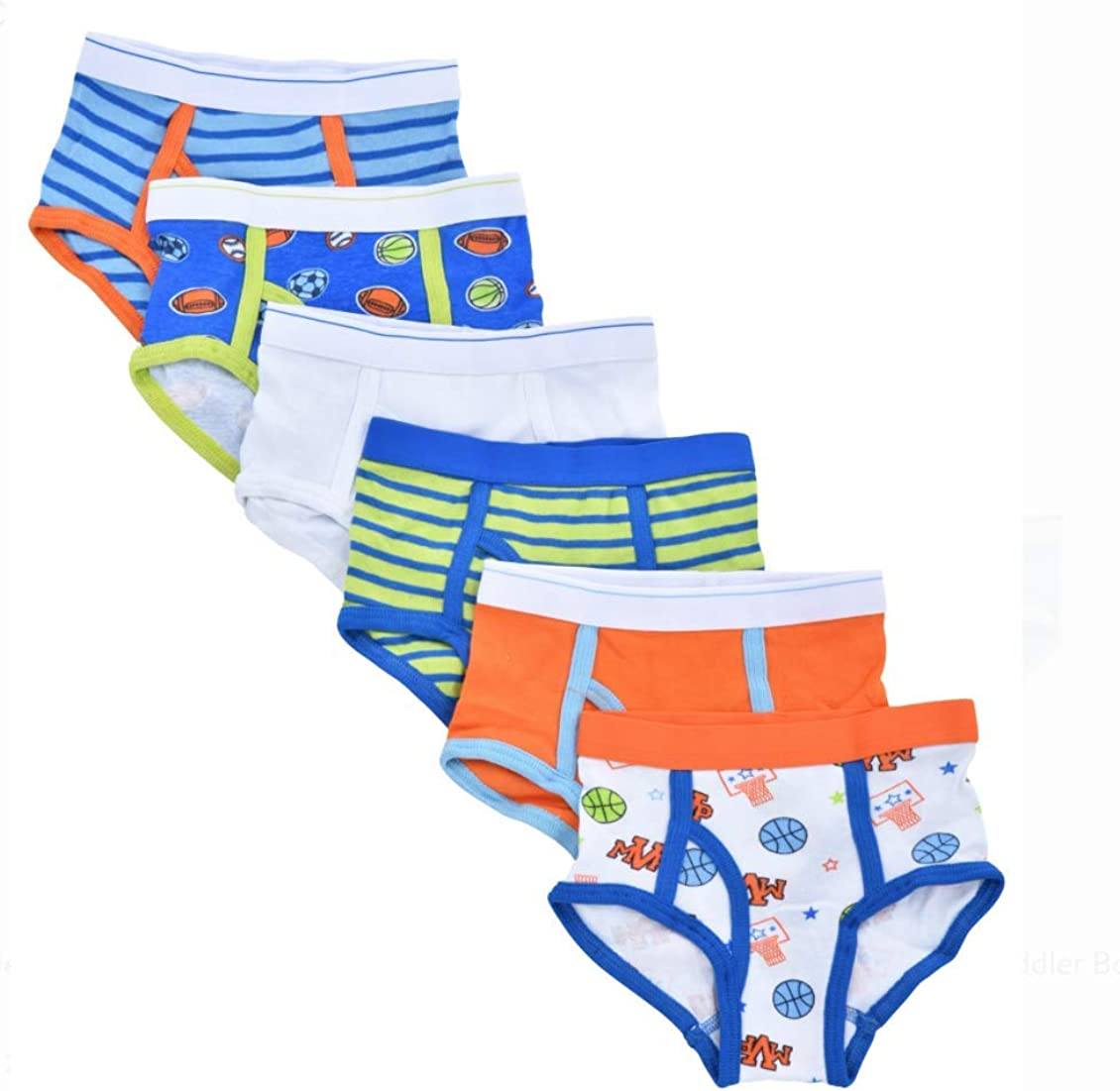 6 Pack Boys Toddler Cotton Briefs Tag-Free
