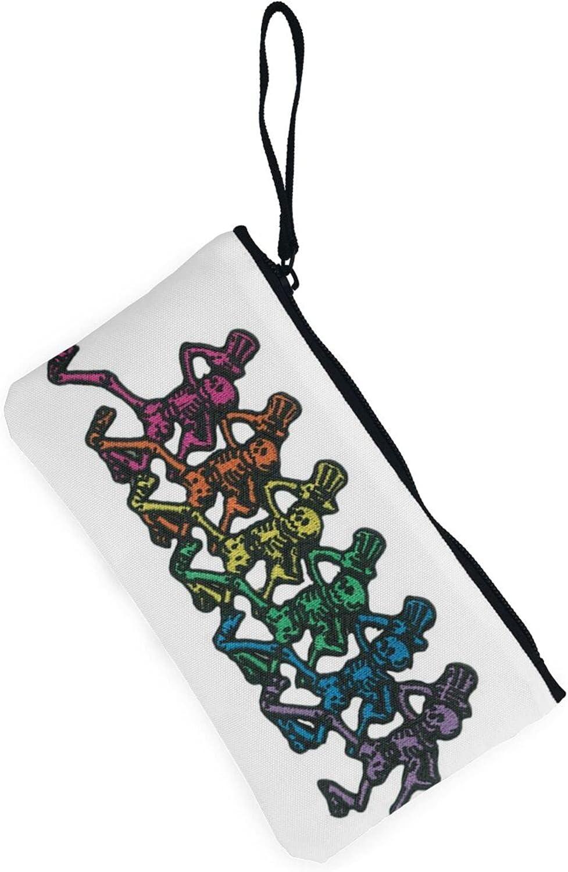 AORRUAM Dancing Skeleton Clip Canvas Coin Purse,Canvas Zipper Pencil Cases,Canvas Change Purse Pouch Mini Wallet Coin Bag