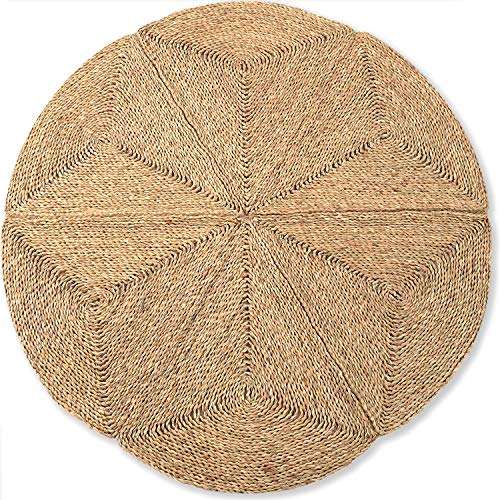 Circle Rug of Rattan Rug, Natural Rug Round 4 Ft, Round Jute Rug, Area Rugs, Farmhouse Rugs, Woven Rug, Boho Rug for Bedroom, Outdoor Rugs for Patios, Rattan Wall Decor, Seagrass Rug 4ft, Star Rug