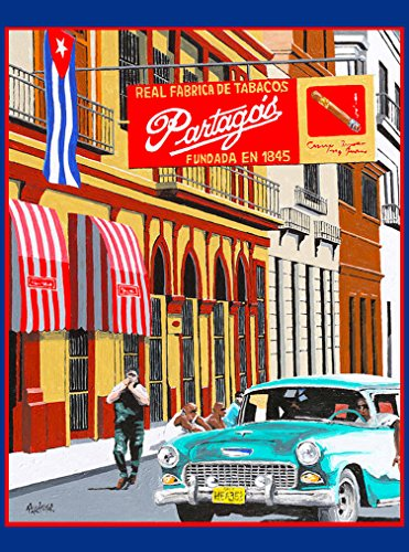 A SLICE IN TIME Cigar Cigars Partagos Real Fabrica de Tabacos Cuba Cuban Havana Habana Caribbean Travel Art Home Decoration Collectible Wall Decor Poster Print. Measures 10 x 13.5 inches