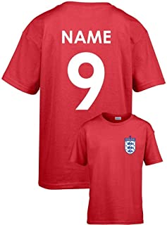Personalised England Kids Football T-Shirt Name Number Age Birthday Custom Team (White, 3XL)