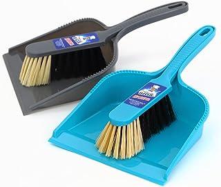 MR.SIGA Dustpan and brush set, pack of 2 set, Blue & Grey