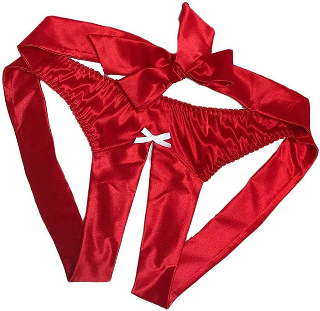 Balakie OFFicial site Womens Sexy G-String Satin Silk Crot New Free Shipping Open Bowknot Thongs