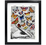 Susie Arts 8X10 Unframed Hand with Butterflies Upcycled Vintage Dictionary Art Print Be Free Book Art Print Home Decor Wall Art V125