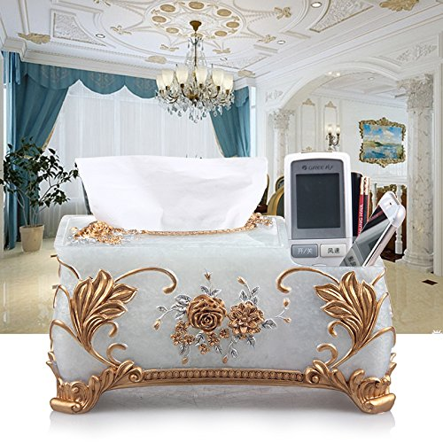MZP plateau de table de boîte de mouchoirs en dentelle européenne le tube créatif serviette de pompage boîte de rangement à distance multifonction décoration de la maison , rome rose pearl white