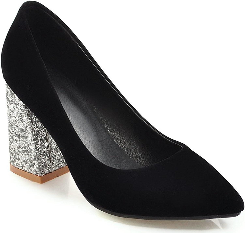 KingRover Women's Elegant Pointed Toe Slip on Commuter shoes Low Cut Sequins High Block Heel Pumps