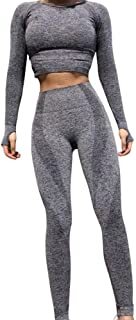 QCHENG Women's Workout Sets 2 Piece Seamless Leggings Crop Top Set Gym Clothes Yoga Outfits for Women