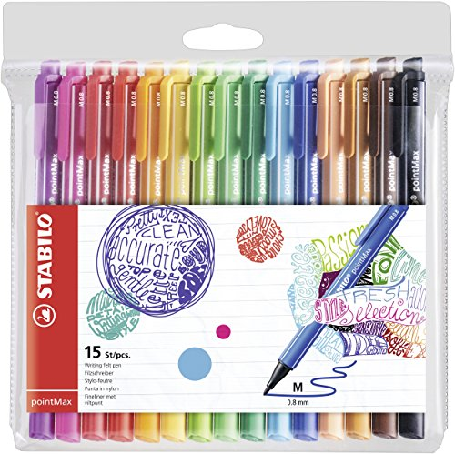 Stylo feutre - STABILO pointMax - Pochette de 15 stylos-feutres pointe moyenne en nylon - Coloris assortis