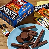 HERSHEY'S Holiday Chocolate Candy Bar Assorted Variety Box (HERSHEY'S Milk Chocolate, KIT KAT, REESE'S Cups), Full Size Bars, 18 Count Gift Box