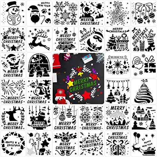 Qpout 32 Stück Weihnachtsmalerei Schablonen, Wiederverwendbare Weihnachtszeichnung Vorlagen, Weihnachtsmann Schneemann Weihnachtsbaum Rentierglocken Plastik Schablone für Weihnachten DIY Malerei Dekor