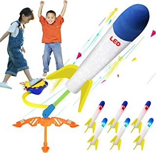 VIUME Toy Rocket Launcher for Kids,Color LED Light Air Foam Rockets Outdoor Sport Toy Sparky Rocket Launcher Shoots