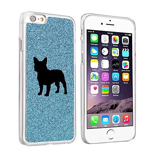 For Apple iPhone 6 Plus / 6s Plus Sparkle Glitter Bling Hard Back Case Cover French Bulldog (Light Blue)